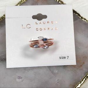 Lauren Conrad 3-ring Set with Stones Sz 7 NWT